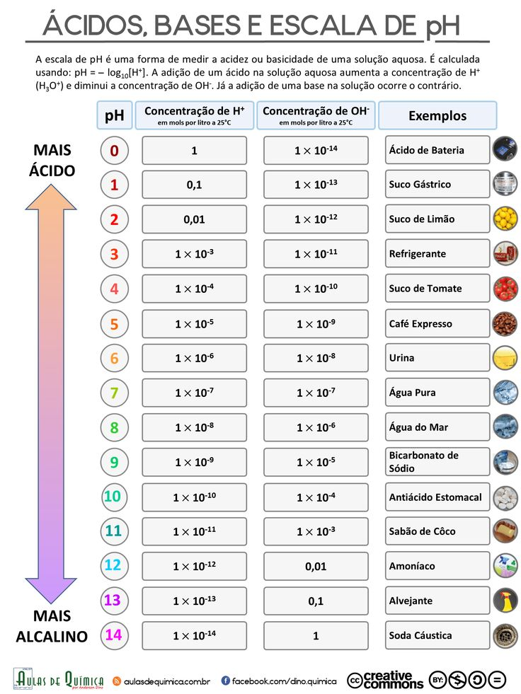 [Infográfico] Ácidos, Bases e Escala de pH - Aulas de Química