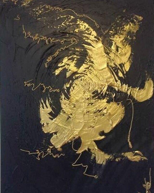 Painting - Dancer- by Aneta Szczepanska @anetaszczepanskaart   Black with gold, think texture abstract art
