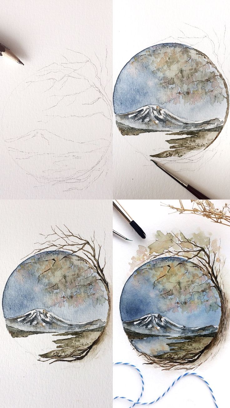 (Rosie Shriver.sketchbook) Mini tutorial painting of mountains and a tree.   #wa…
