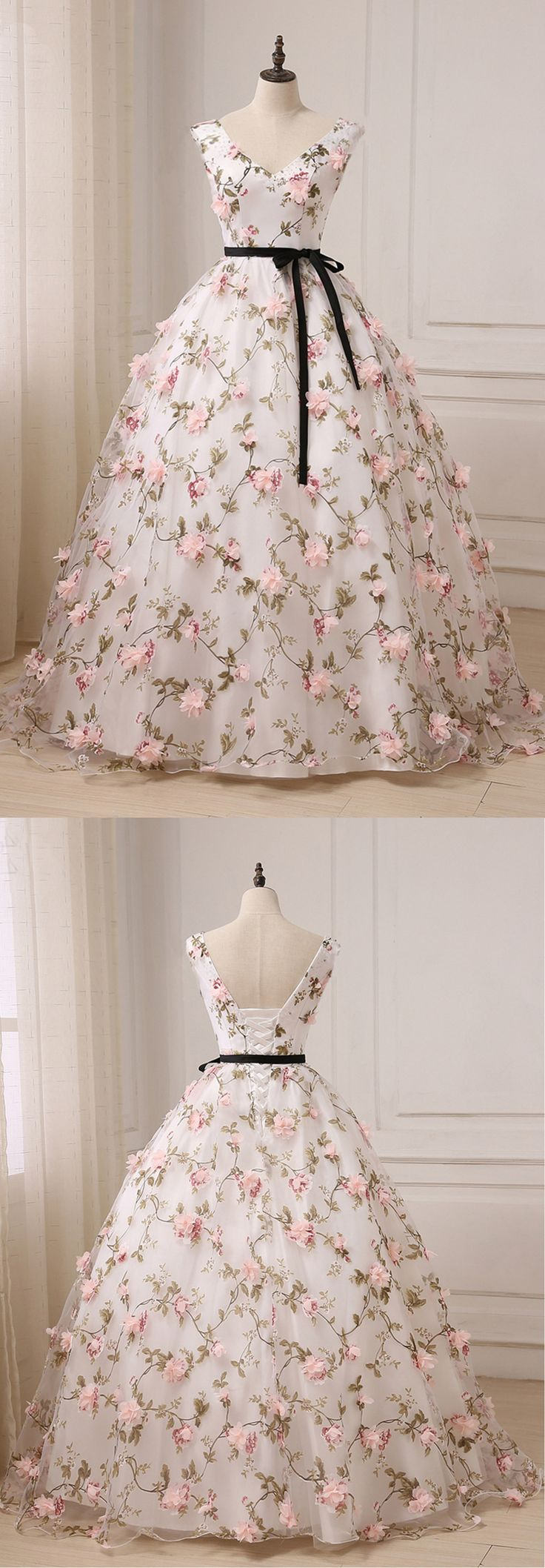 Cute floral tulle long prom dress