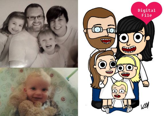 Check out this item in my Etsy shop https://www.etsy.com/listing/220674026/5-character-custom-cartoon-family