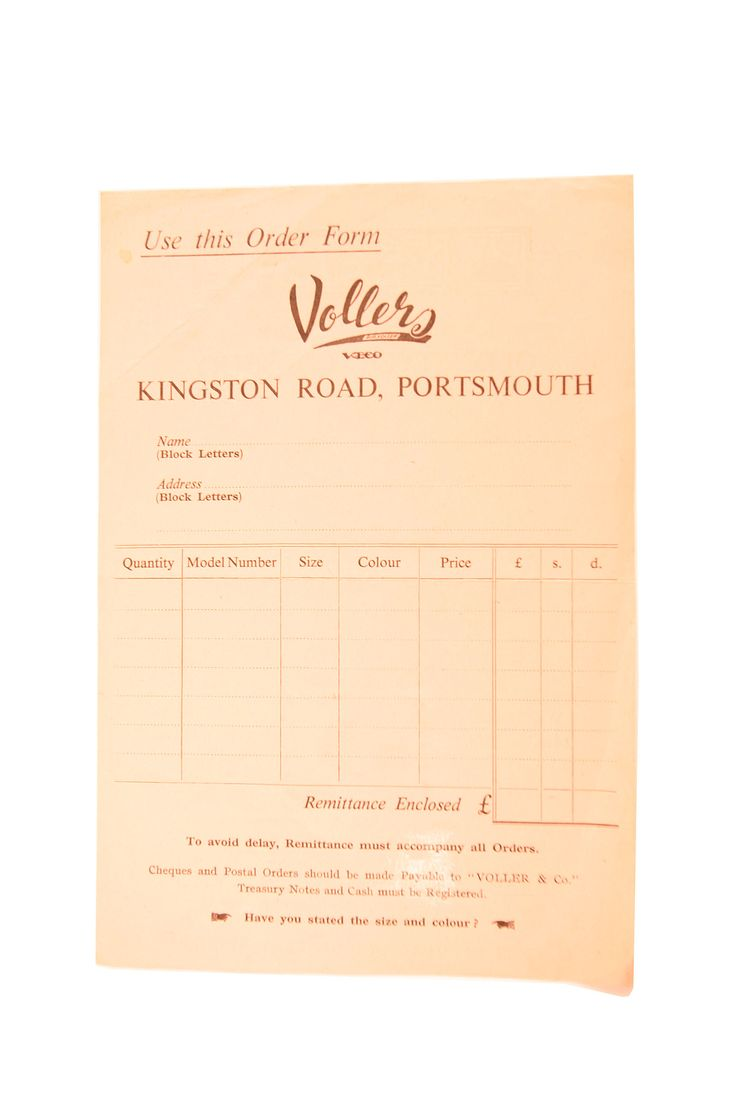 Historical Vollers Order Form