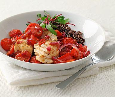 Recept: Stekt torsk med varm sallad