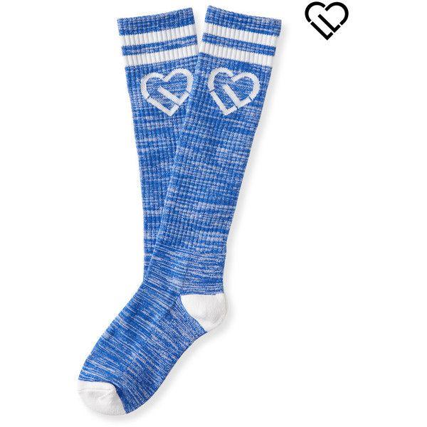 Aeropostale LLD Stripe Icon Knee-High Socks ($5) ❤ liked on Polyvore featuring intimates, hosiery, socks, intense blue neon, striped knee high socks, aéropostale, neon knee high socks, striped socks and thick socks