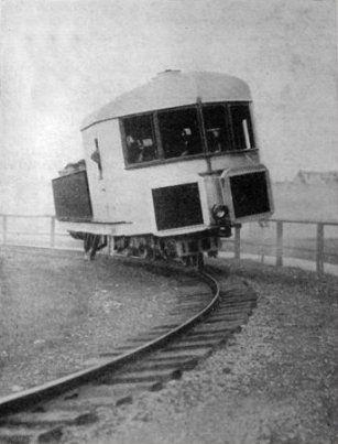 Гироскопический вагон, 1907 год Гироскопические вагоны не получили распространения из-за высокой сложности, а также необходимости поддерживать работу гироскопа.