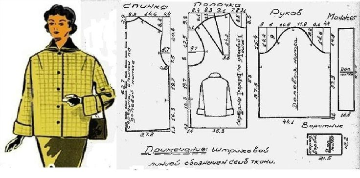 Двухсторонний жакет прямого силуэта. 50 размер. Обхват груди 100 см, обхват талии 82 см, обхват бедер 108 см. Расход ткани в клетку при ширине 140 см – 1,5 м. Расход гладкокрашеной ткани при ширине 140 см – 1,5 м.
