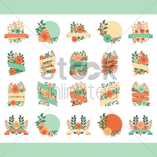 set of floral labels vector graphic