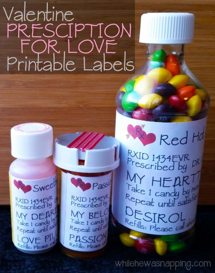 Valentine's Day Prescription for Love - Printable labels. A quick, easy and fun gift idea for your valentine.  #valentine #valentinesgift #giftideaforhim #giftideaforher #sweettreat #printable #romanticgift