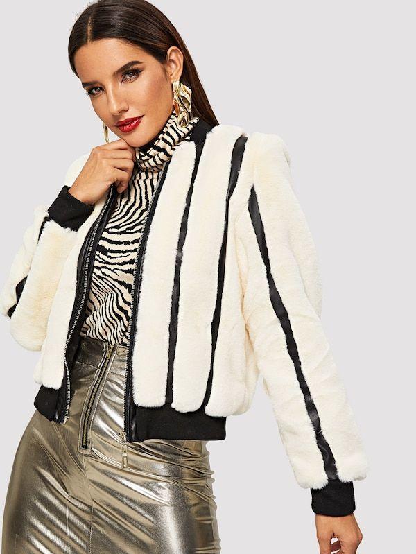 3c3f580eae Zip Up Faux Fur Jacket -SheIn(Sheinside) | Women's clothing | Faux ...
