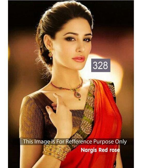 Bollywood Designer Nargis Red Color Saree Bridal Saree Collections