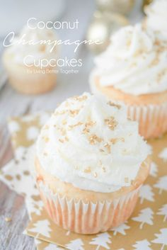 These Coconut Champagne Cupcakes are perfect for New Year's Eve! A simple white cupcake made with coconut milk and extract makes for the perfectly fluffy vessel for an insanely delicious and smooth champagne buttercream!