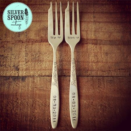 Hand stamped vintage cake forks - choose your stamping | Silver Spoon Vintage | madeit.com.au