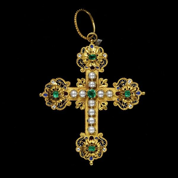 Gold cross, the front set with pearls and emeralds, the reverse decorated with enamelled rosettes on lobed terminals.