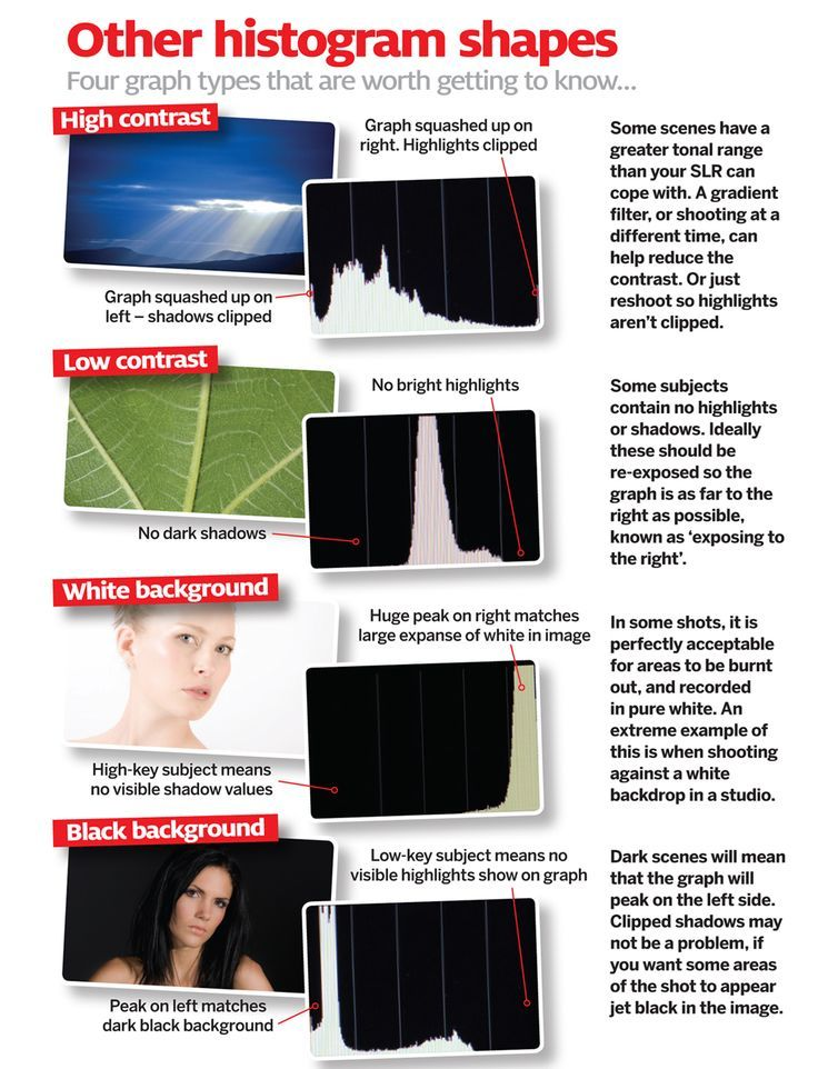 Before the histogram, photography enthusiasts had to go through a lot of effort to get good exposures. Cheat sheets show you exactly how to interpret your camera's histogram.  Photography tips. Nordic360.