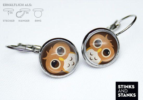 Ohrringe Eule MSC275 von STINKSANDSTANKS - Wohnideen und Geschenke auf DaWanda.com