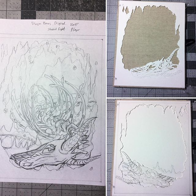 A quick look at the start of my next box! Feels good to do an original piece again after doing so many amazing, huge, and epic commissions! <3 #paperart #handcut #papercut #workinprogress #sketch #dragon #cave #dragonbones #skeleton
