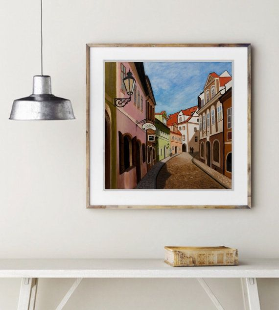 Prague Street Art Print Cityscape Original Art Print by MaritimArt