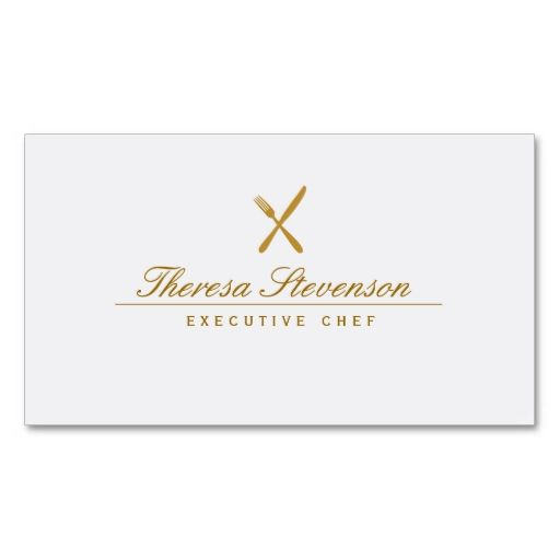 Personal Chef Simple Elegant Gold Cutlery Business Card. This great business card design is available for customization. All text style, colors, sizes can be modified to fit your needs. Just click the image to learn more!