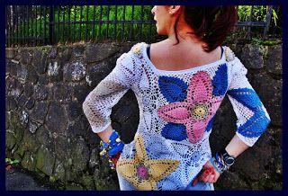 uncinetto moda e fantasia:   maglietta in cotone fantasia con inserzioni di l...