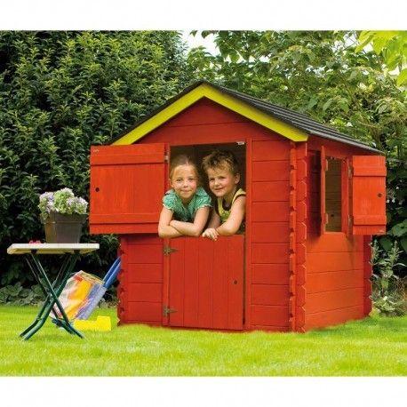 cabane pour enfant en bois peint rouge sur. Black Bedroom Furniture Sets. Home Design Ideas