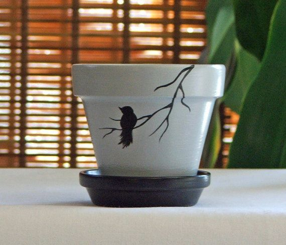 Bird on Branch Hand Painted Clay Pot