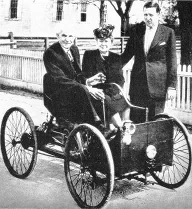 Henry Ford With Early Very Automobilenote The Stick Steering
