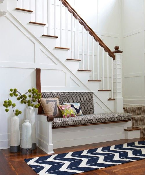 Gorgeous board and batten staircase - love the mix of white and wood