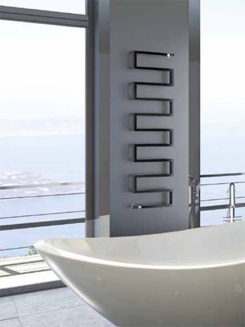 serpentes shape radiator, heated towel rail, coloured towel radiator, towel warmers, snake radiator