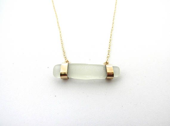 Sea glass necklace gold filled dainty necklace great gift