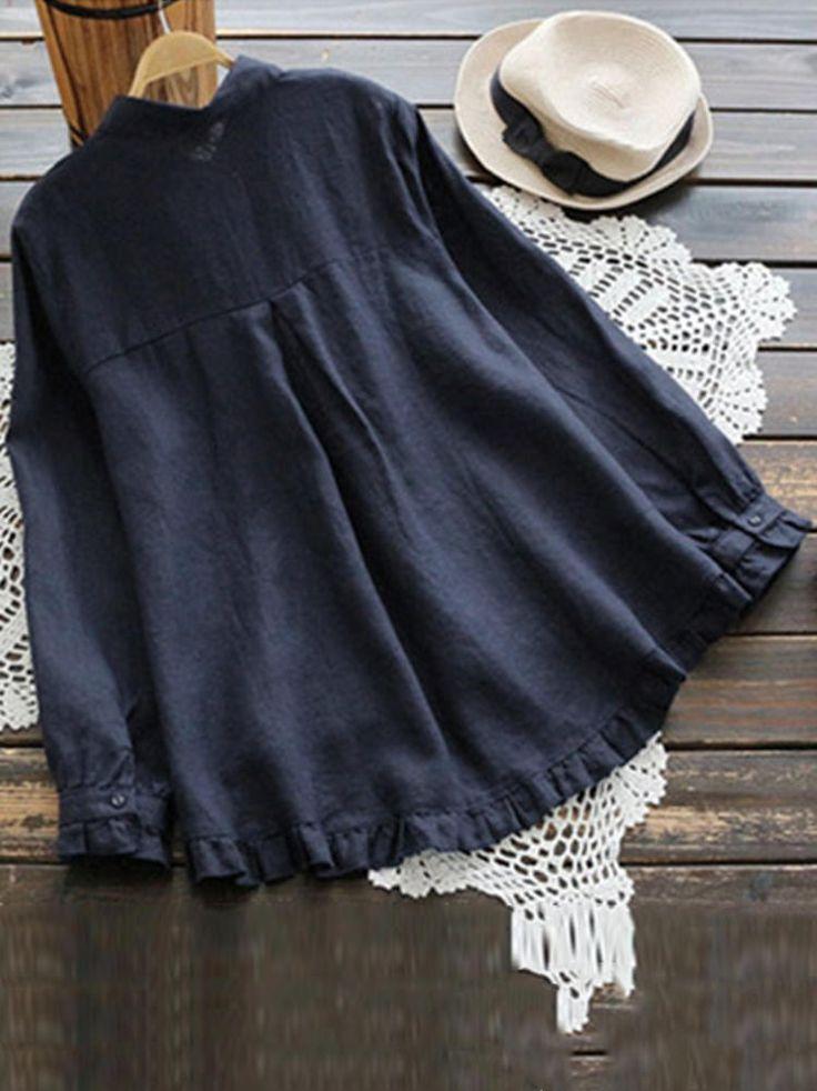 Plus Size Elegant Long Sleeve Ruffles Hem Cotton Blouse for Women 15