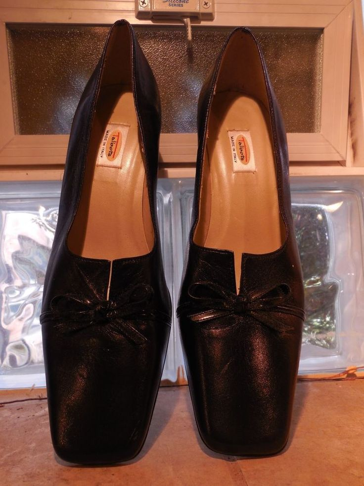 WOMENS BLACK LEATHER BOW NARA PUMPS SHOES TALBOTS 10N NARROW $88 MADE IN ITALY…