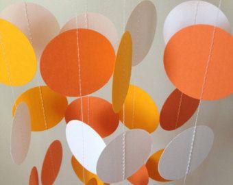 Amarillo, naranja, blanco 12 pies círculo papel Garland - decoraciones, cumpleaños, boda, despedida de soltera, Baby Shower