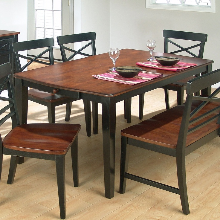 two toned painted kitchen tables tone wood round dining table set bench chairs black is dark green