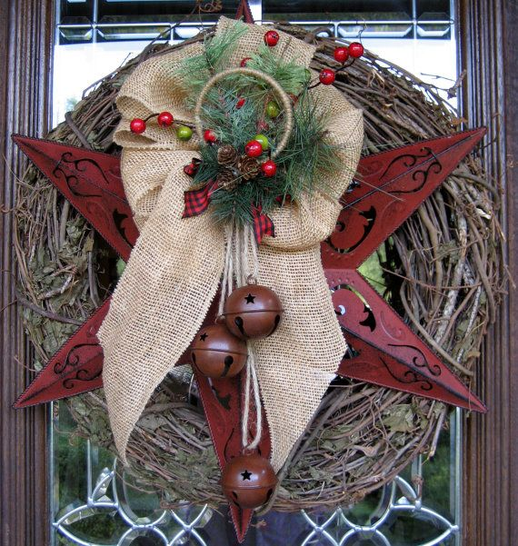 TEXAS STAR GRAPEVINE Christmas Wreath with Burlap Bow and Rustic Bells. $85.00, via Etsy.