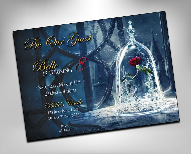 Best 131 birthday invitations and more images on pinterest beauty and the beast invitation beauty and the beast invite princess belle birthday invitation filmwisefo