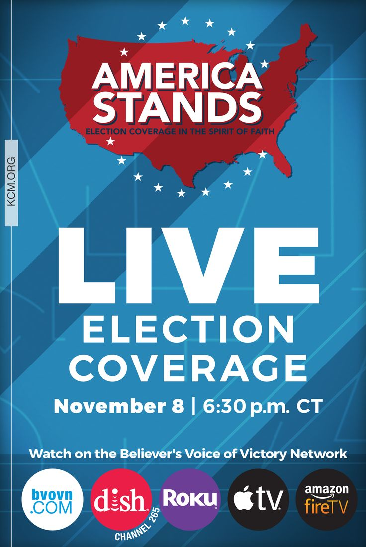 The countdown is on! Do you have election night plans yet? If not, we'd like to invite you and your friends to join us for our live election coverage! America Stands 2016: Election Coverage in the Spirit of Faith will be live starting Tuesday, Nov. 8 at 7 PM CT, with our countdown show to the event beginning at 6:30 PM CT. Click here for complete details and ways to watch: http://kennethcopelandministries.org/join-us-live-election-coverage-spirit-faith/