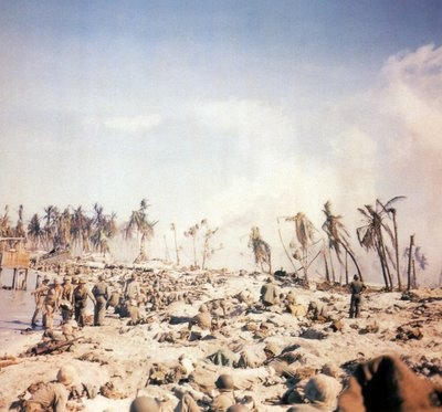 November 22, 1943: A view along the beach on Tarawa, in the Gilbert Islands, following a landing by the U.S. Marine Corps