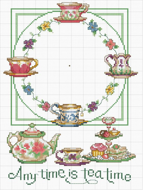 tea time clock face cross stitch chart