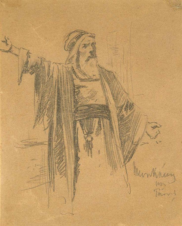 Munkácsy Mihály (1844-1900) Kajafás vázlatrajza a Trilógiához (Kriszus Pilátus előtt)