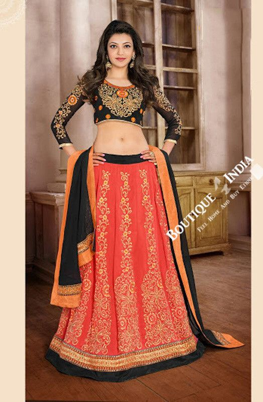 2-1 Salwar And Lehenga Heavy Work Wedding Designer Collection - Orange Shades, Black And Gold Resplendent Unique Designer Wear Salwar Convertible Lehenga / Party Wear / Wedding / Special Occasions / Festivals - Semi Stitched, Blouse - Ready to Stitch