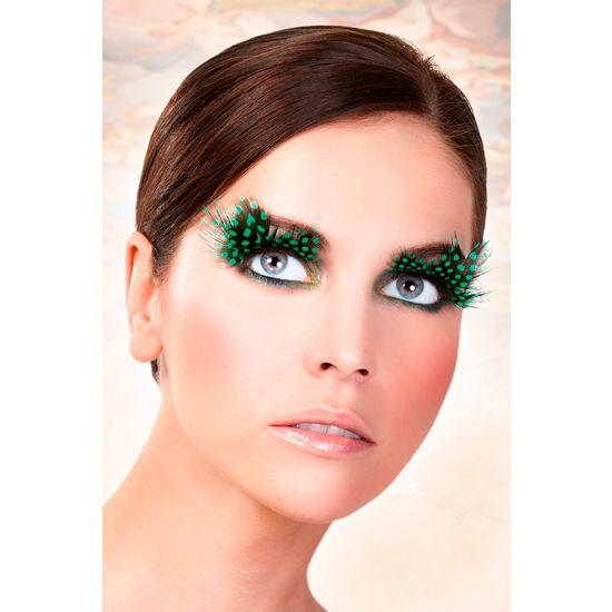Baci pestañas postizas plumas verde
