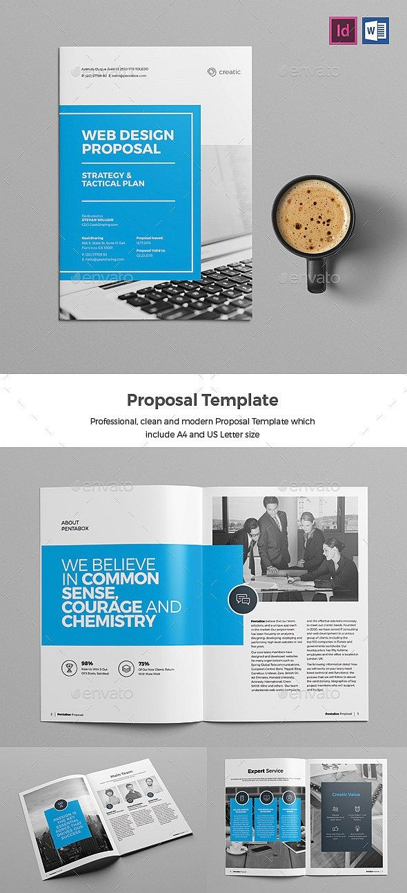 26 Pages Web Design Proposal Template (InDesign) #proposal #brochure