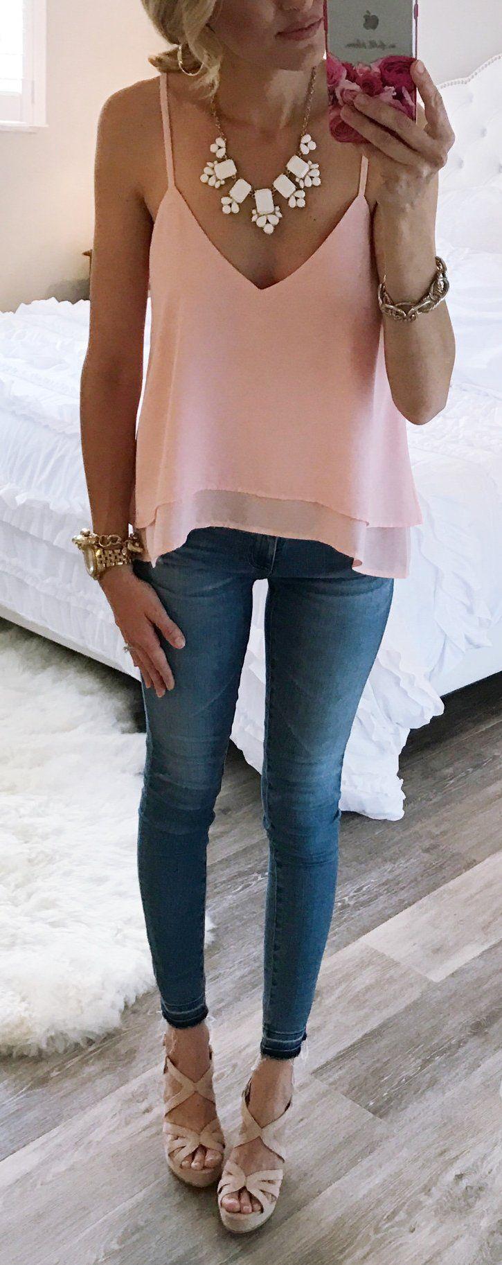#spring #outfits  Pink Silk Tank Top & Skinny Jeans & Platform Pumps
