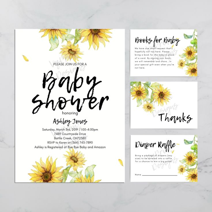 Sunflower Baby Shower Invitation Package, Gender Neutral