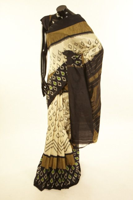 Ikkat- Patola- silk ivory cream saree with blouse