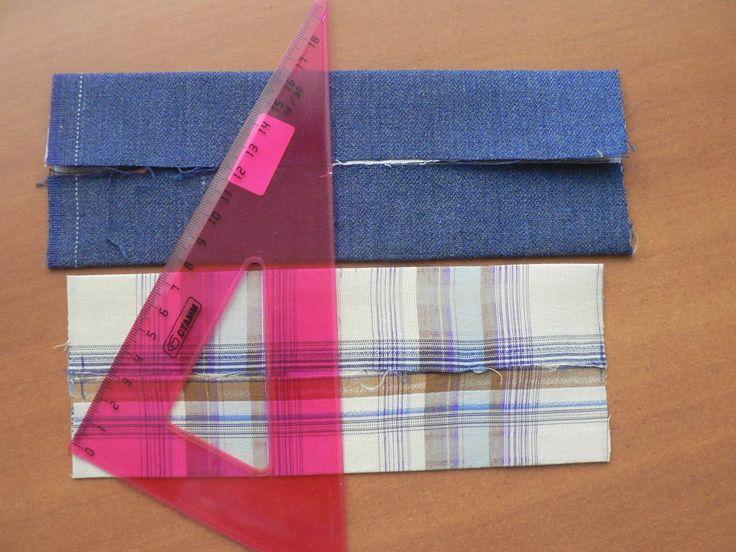 Мужской галстук-бабочка. Двух-цветный.На двух больших деталях опять прочертила ПОПЕРЁК линию середины.