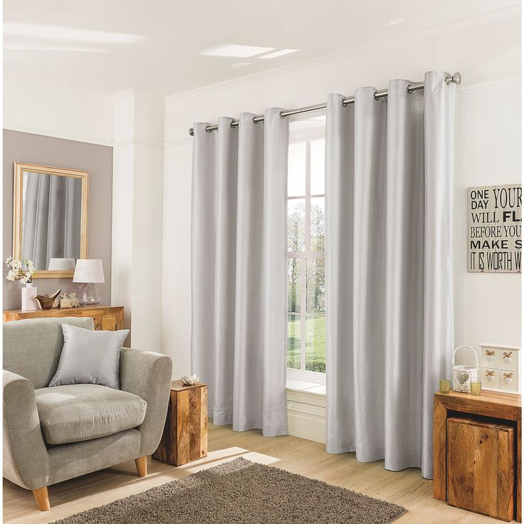 Silver Faux Silk Curtains | Home | George