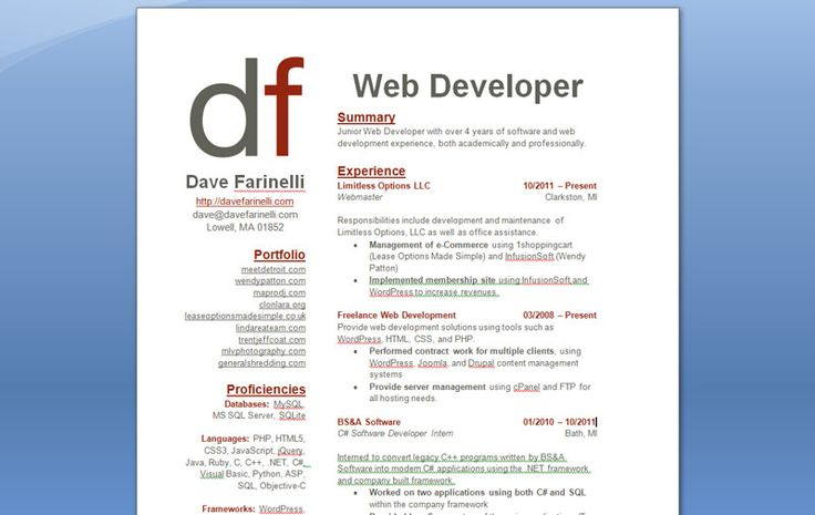 Job Hunter Designs Resume to Look Like Kickstarter Design resume - web developer resumes