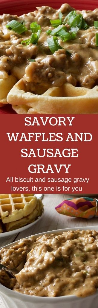 Savory Waffles and Sausage Gravy  A hearty meal of waffles and sausage gravy. Filling, hearty and oh so good! http://HomemadeFoodJunkie.com