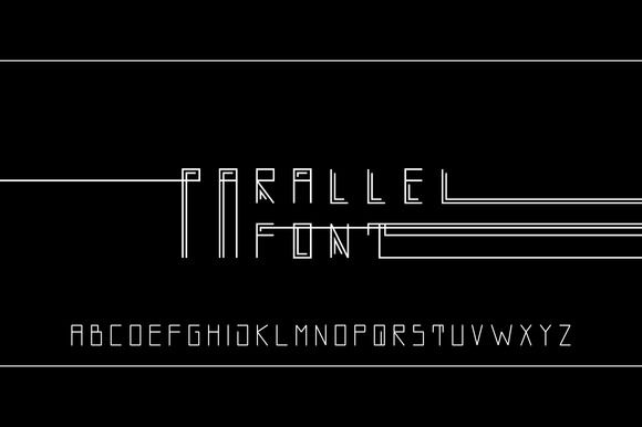 Parallel vector linear font by Creativemaker on Creative Market